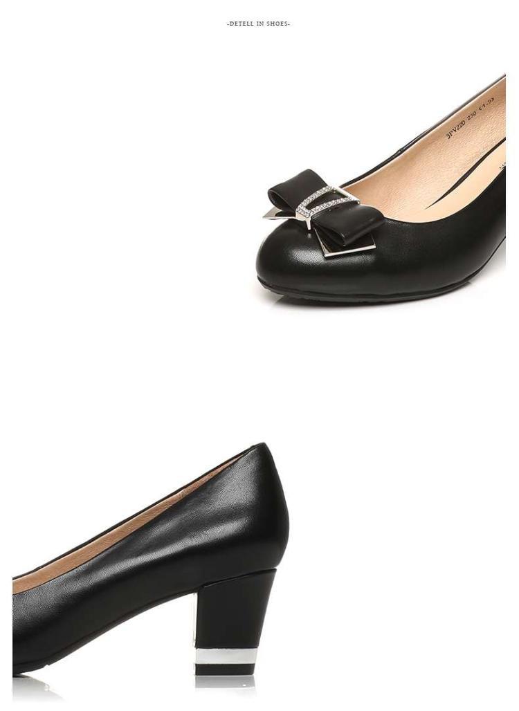 森达senda森达春季专柜同款时尚甜美羊皮粗跟浅口女鞋图片