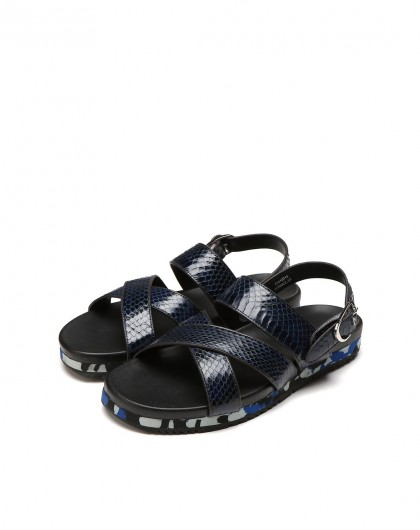 沙滩皮鞋 蓝色蛇皮男士休闲凉鞋