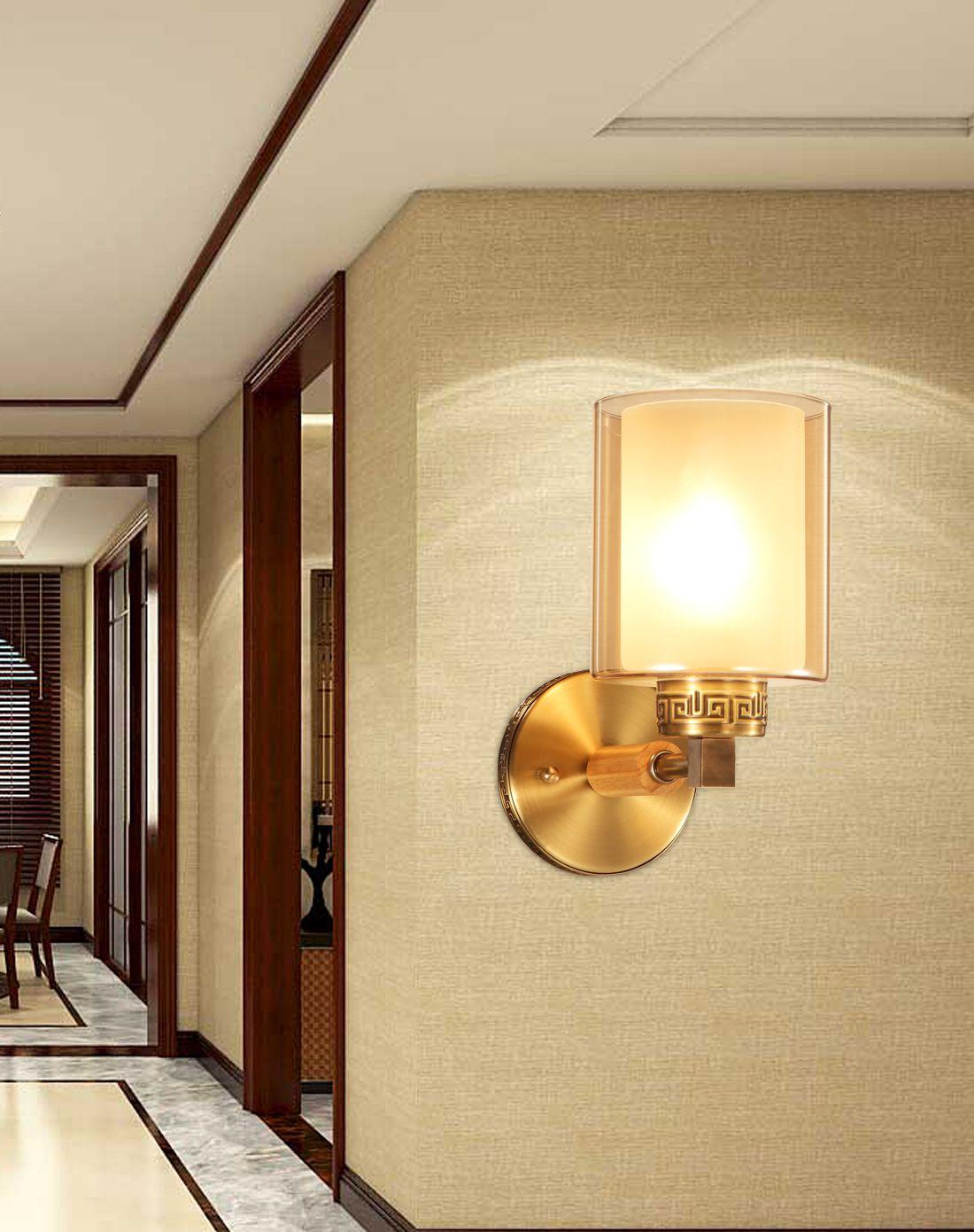 新中式过道卧室床头铜壁灯