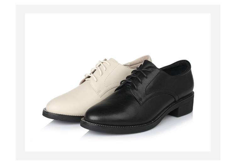 森达2017春季时尚牛皮方跟女休闲鞋黑色