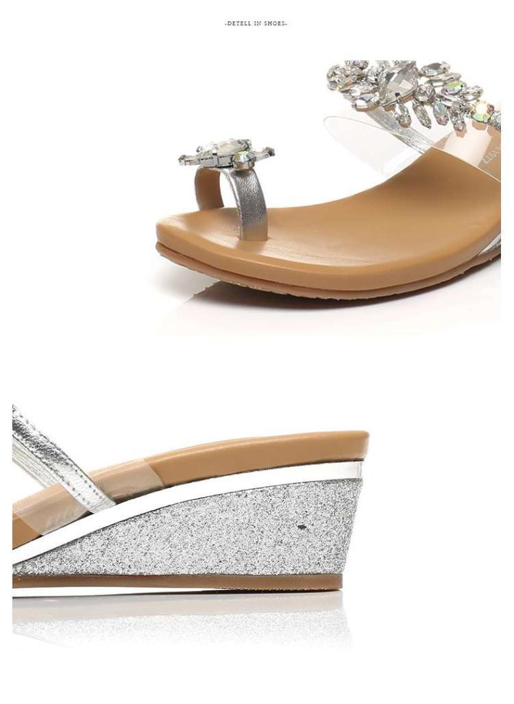 森达夏季专柜同款时尚羊皮/胶片休闲坡跟女拖鞋