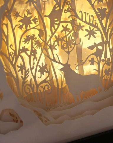 (梦幻森林)立体风景纸雕装饰画小夜灯