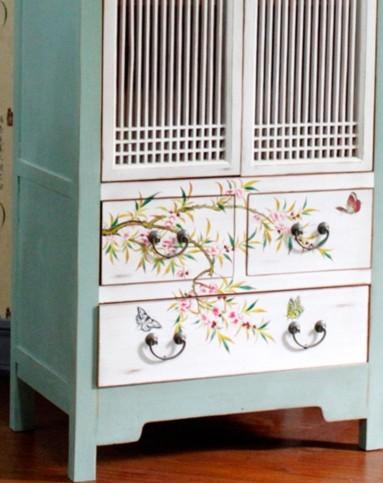 蓝色双门带抽屉手绘书柜书架