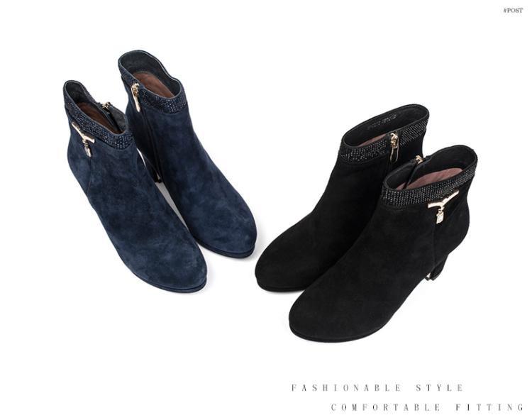 森达senda女鞋专场 森达冬季时尚羊皮粗跟女高跟短靴图片