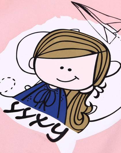 女童纸飞机女孩连衣裙粉色