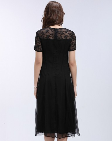 2016新款真丝时尚黑色连衣裙