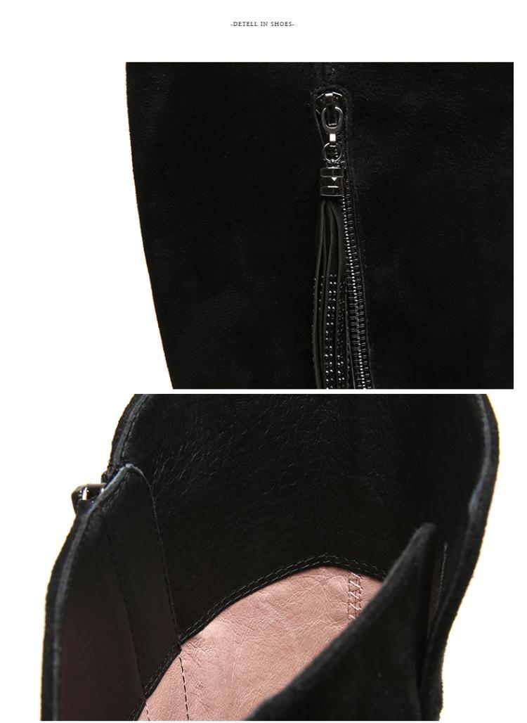 森达冬季商场同款时尚潮流羊皮内增高女长靴
