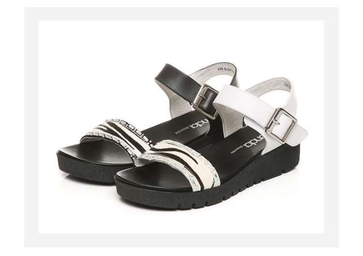 森达夏季专柜同款时尚休闲牛皮/羊皮坡跟女凉鞋