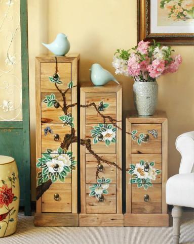 香樟木-杜鹃花手绘组合柜