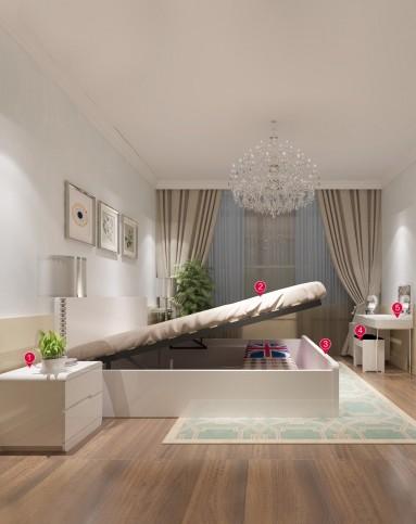 现代简约卧室高箱床床垫床头柜梳妆台组合