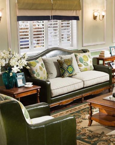 经典美式小户型黄杨木皮布沙发图片