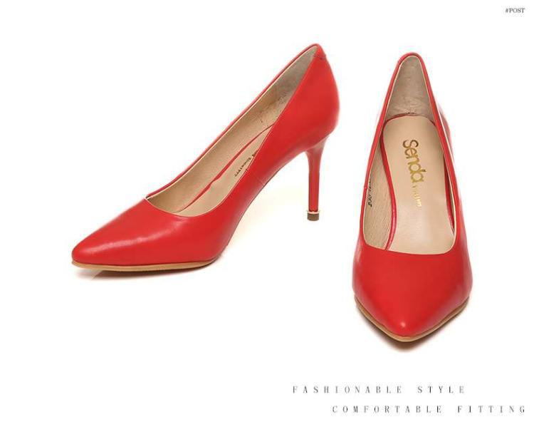 森达senda森达春季专柜同款时尚优雅牛皮细跟浅口女鞋图片