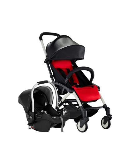 chbaby带安全提篮可上飞机皮质婴儿推车 旗舰黑色