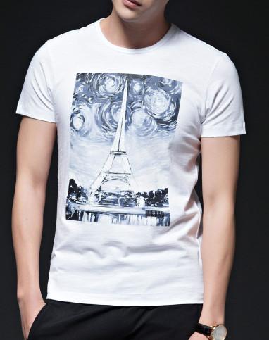 白色手绘星空油墨印花短袖t恤