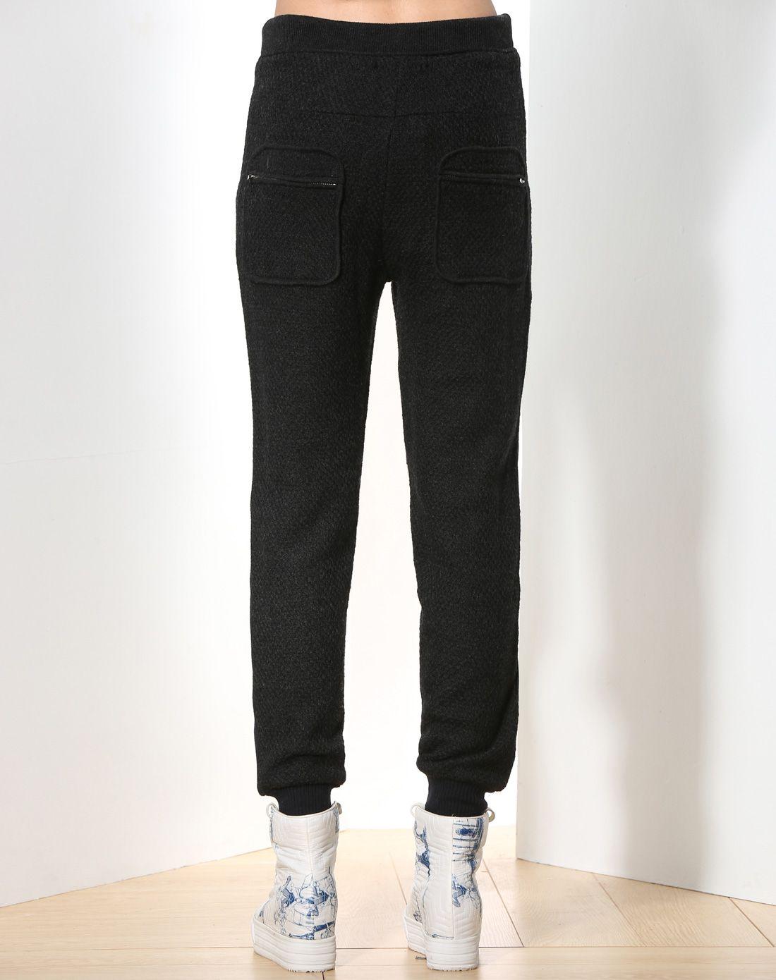 黑色时尚个性修身羊毛针织裤子