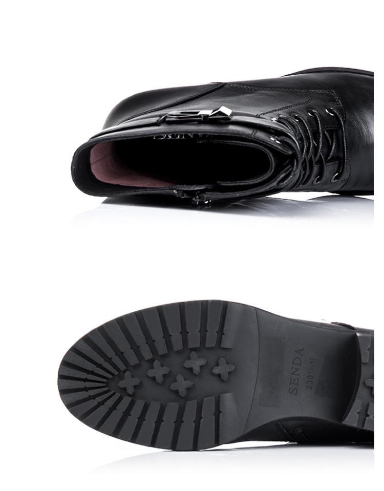 森达senda男女鞋森达冬季时尚牛皮方跟女中靴vs23wx11