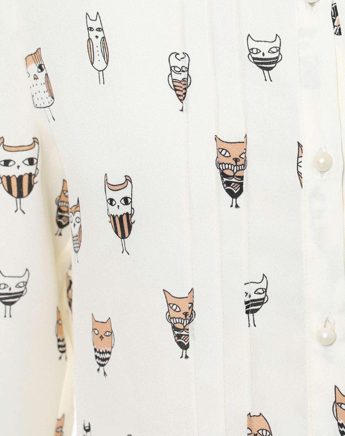 猫头鹰手绘衬衫