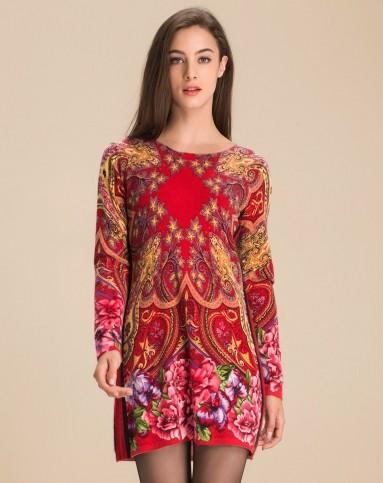 兆君男女装女红底花色山羊绒圆领印花连衣裙zjh560c