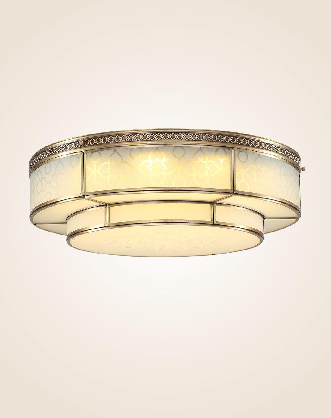 全铜led三色变光水晶吸顶灯