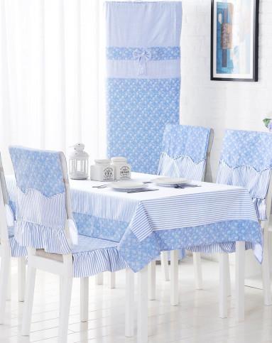 条纹雏菊清新布艺桌布(蓝色)