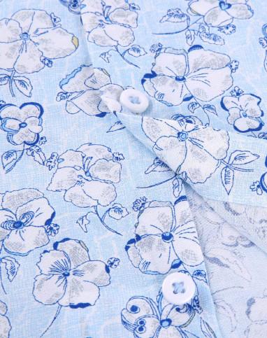 浅蓝花纹修身舒适休闲短袖衬衫