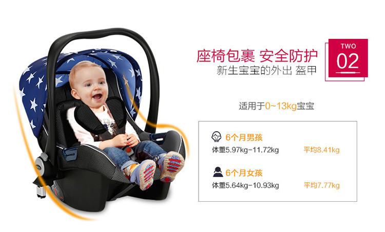 chbaby带安全提篮可上飞机婴儿推车 牛仔