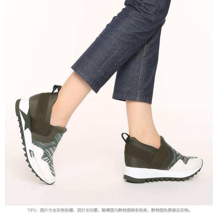 妙丽专柜同款红黑/白牛皮编织女运动休闲单鞋