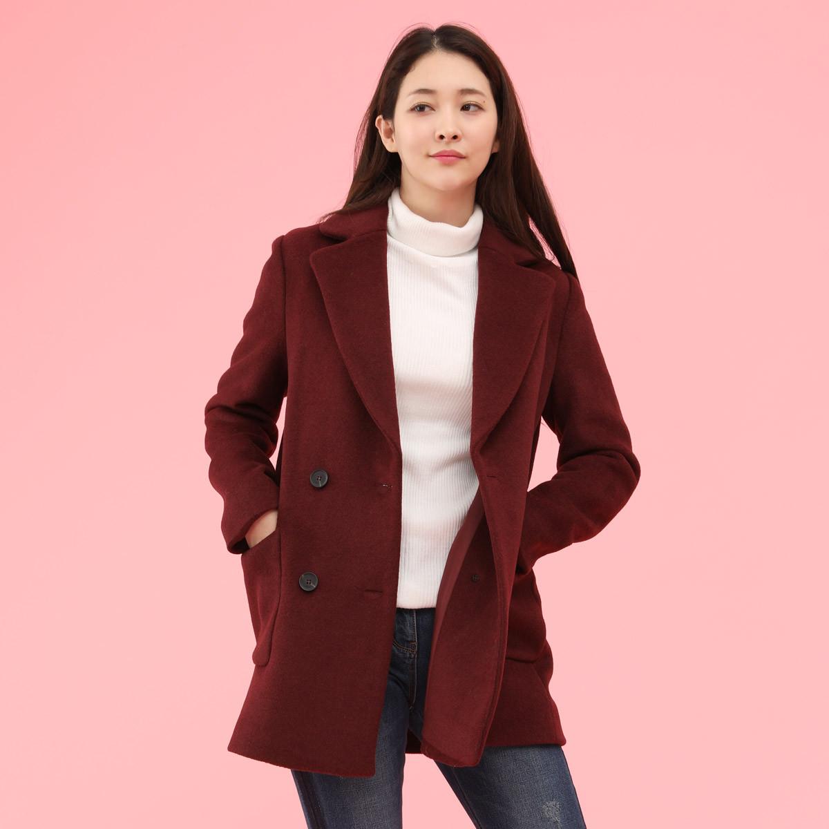 soupSOUP 韩版翻领短款双排扣纯色冬季必备款经典羊毛大衣外套STAJK32BBU