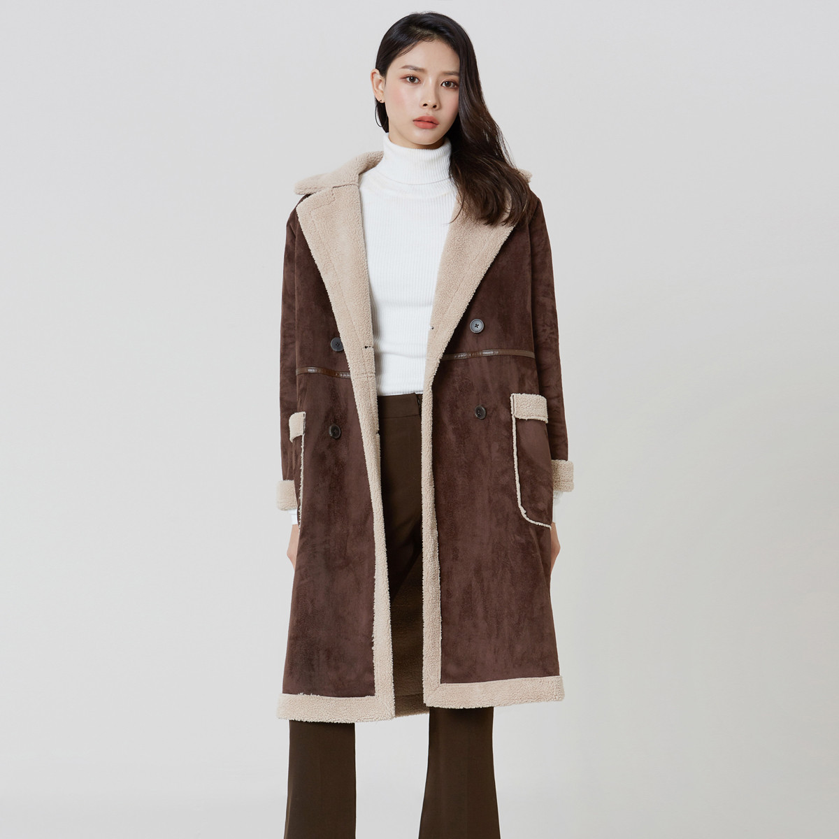 MIXXO秋冬新款韩版通勤休闲显瘦保暖仿麂皮配色加长款翻毛皮夹克外套MIWJL8V31L85