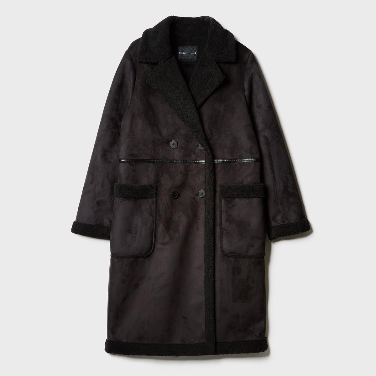 MIXXO秋冬新款韩版甜美通勤休闲显瘦保暖仿麂皮加长款翻毛皮大衣外套MIWJL8V51C19