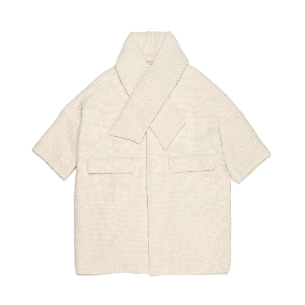 b+ab女款围脖领外套林允同款九分袖中长款外套BCXJK5O0153S5IVX