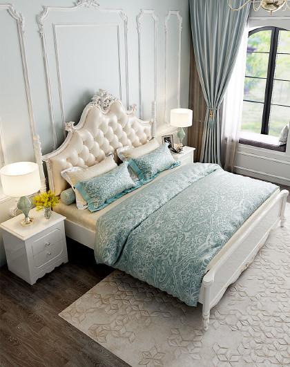 双虎家私 欧式床主卧实木经济型卧室家具双人公主床17f2