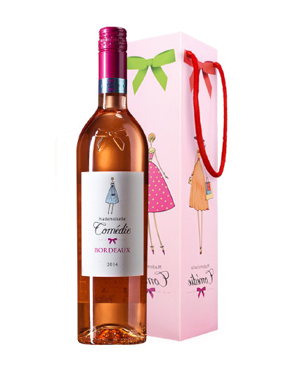 法国波尔多原瓶原装进口红酒 凯蒂公主桃红葡萄酒单支尝鲜装 送礼袋