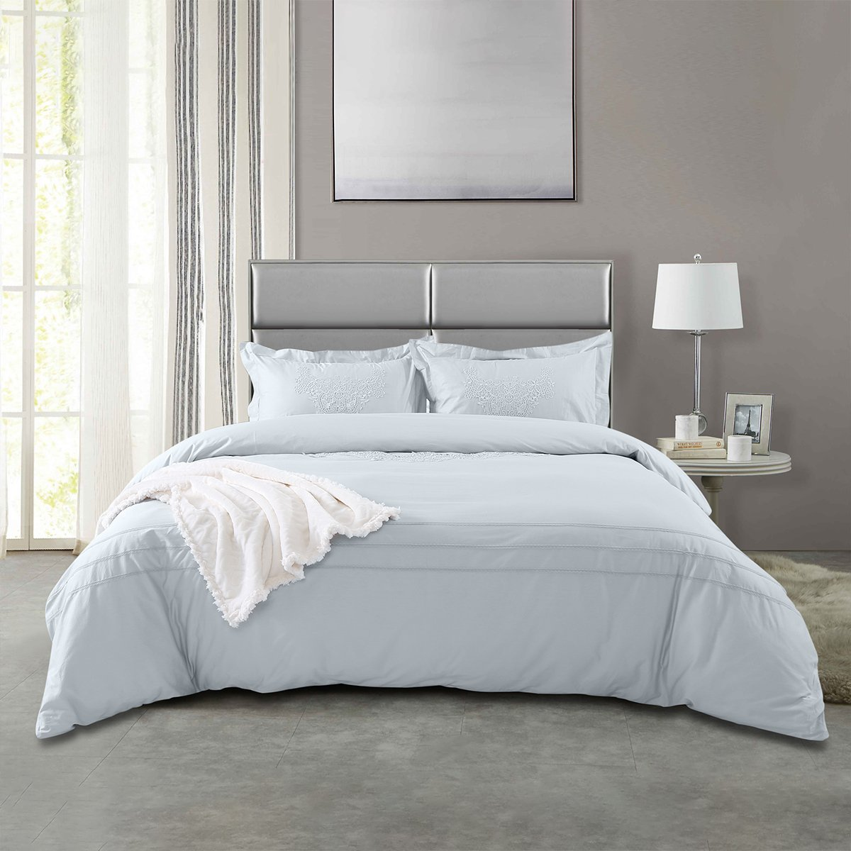 Ramada【年底清仓】全棉刺绣四件套床上套件四件套床上用品纯棉四件套COLOR银灰色