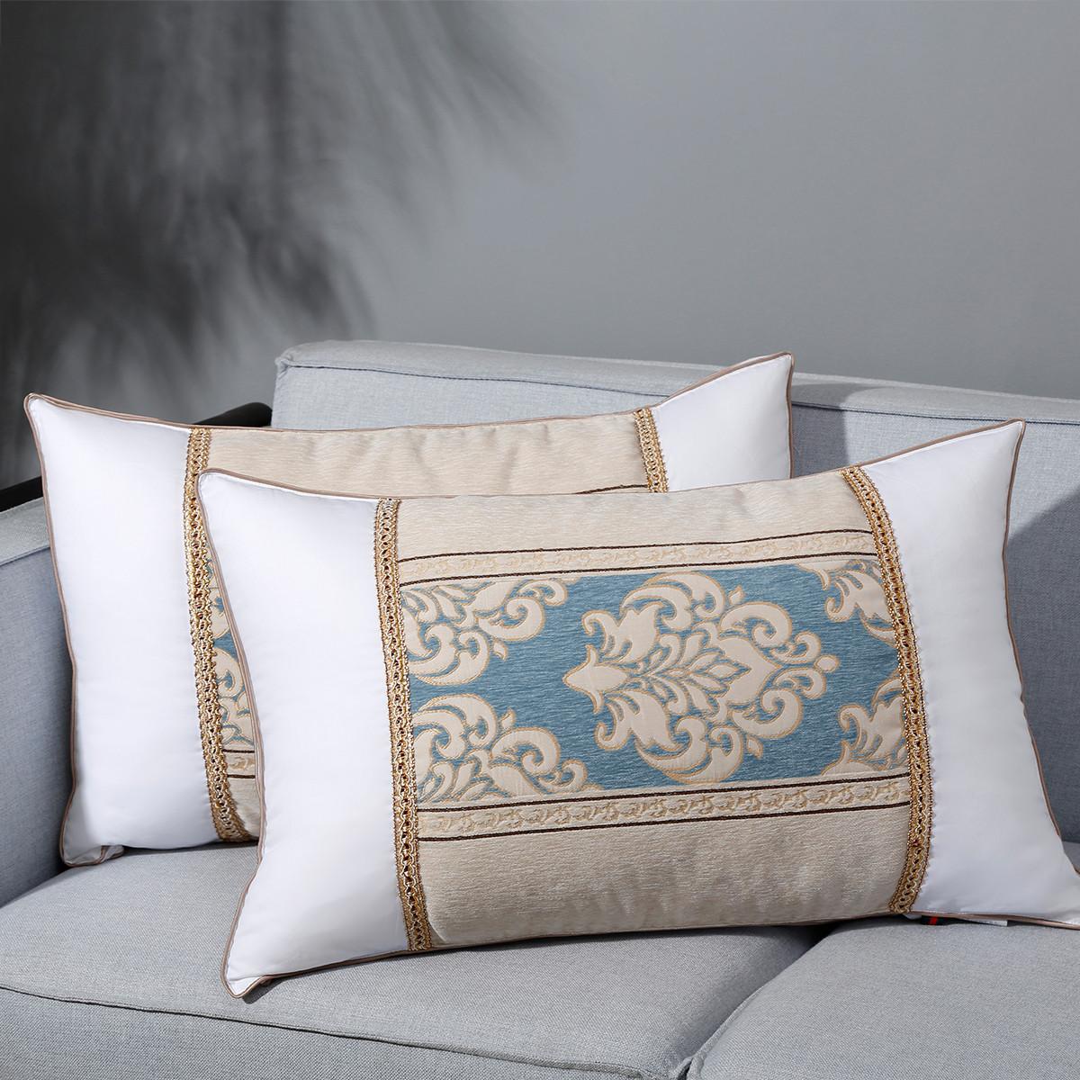 Ramada全棉床上用品枕头芯一对拍2成人护颈椎枕头纯棉枕头芯枕芯枕头COLOR白色(蓝边)