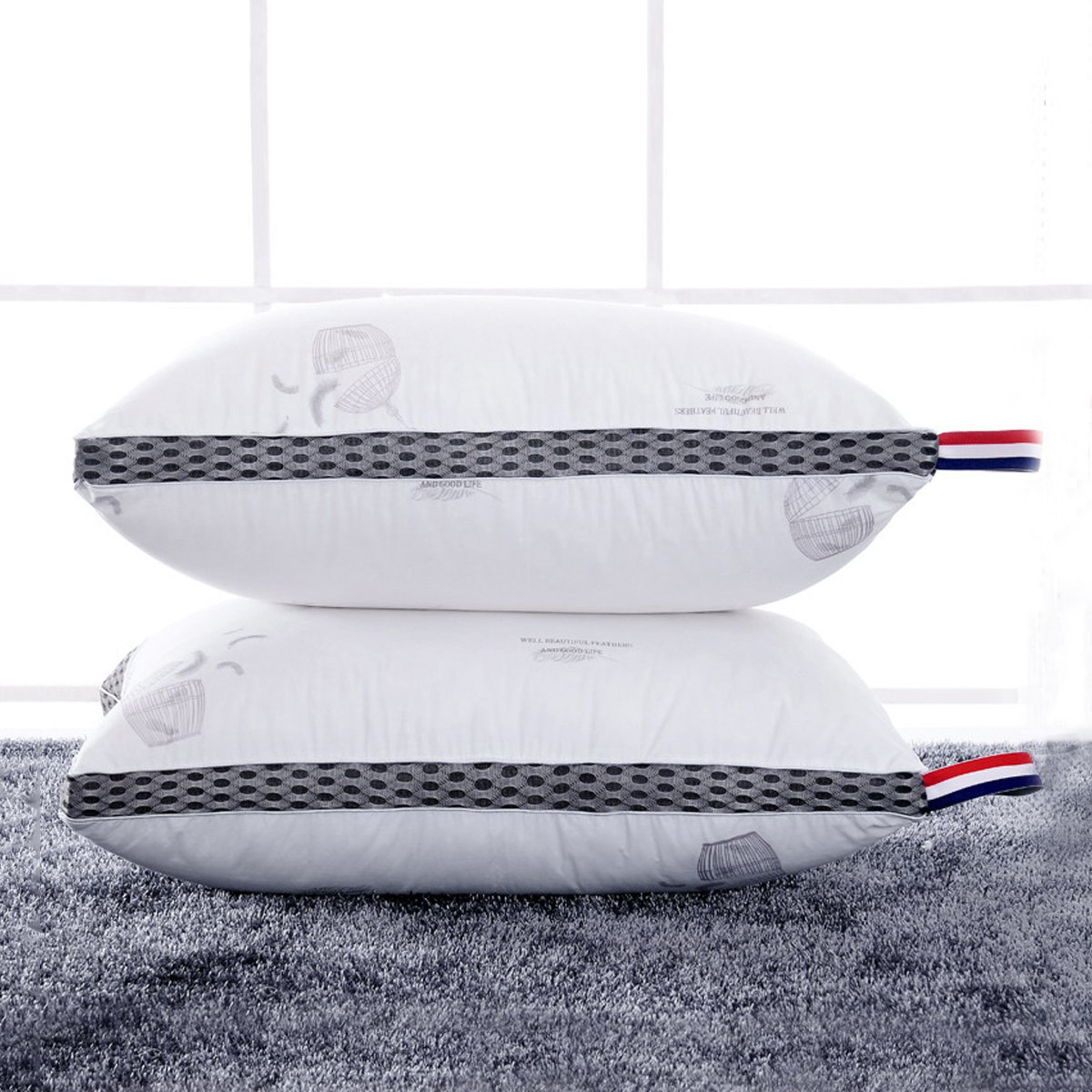 Ramada全棉印花枕头成人护颈枕芯颈椎枕头床上用品枕头芯枕芯枕头COLOR白色