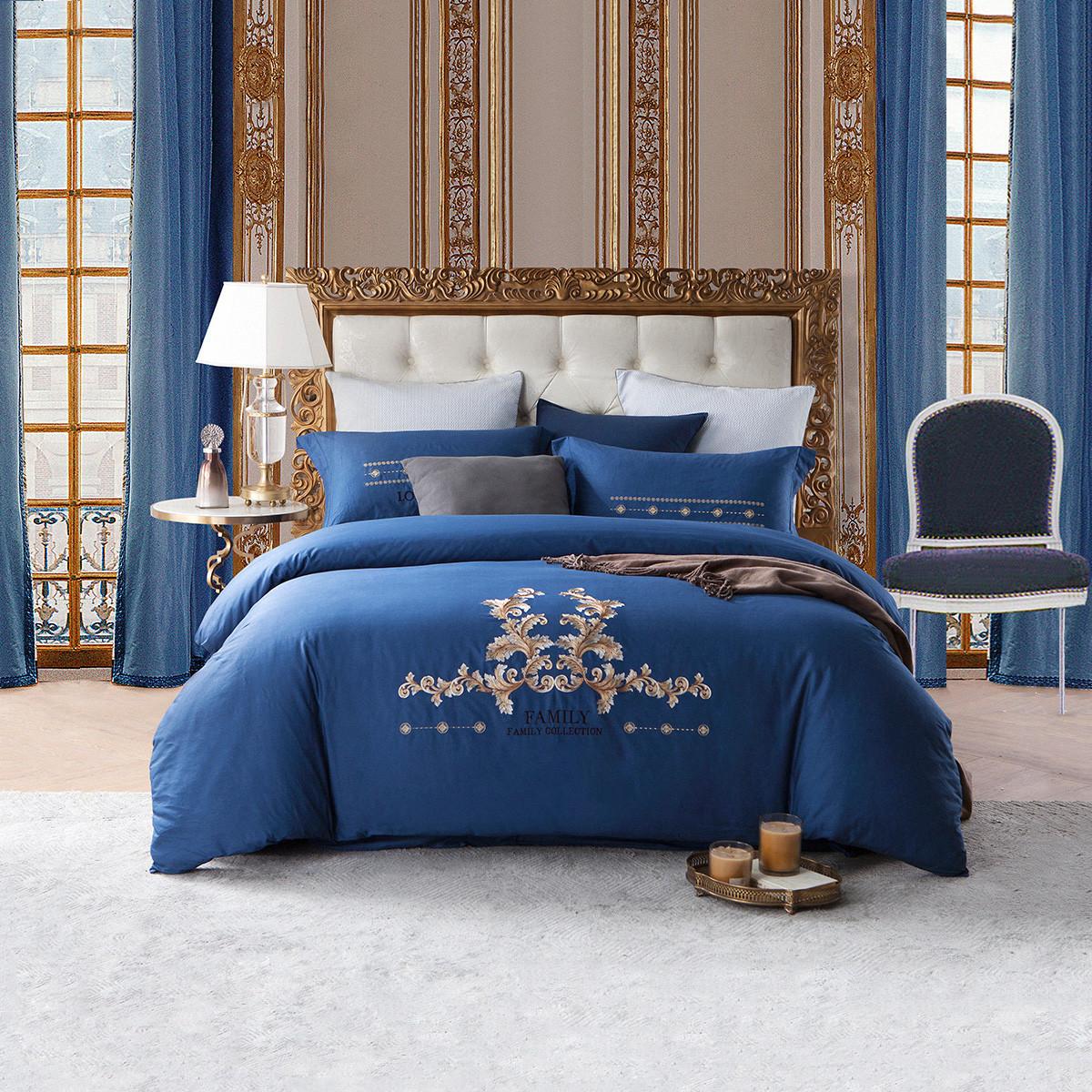 Ramada【年底清仓】秋冬绣花床上套件床上用品纯棉四件套床上套件四件套COLOR蓝色(绣花)