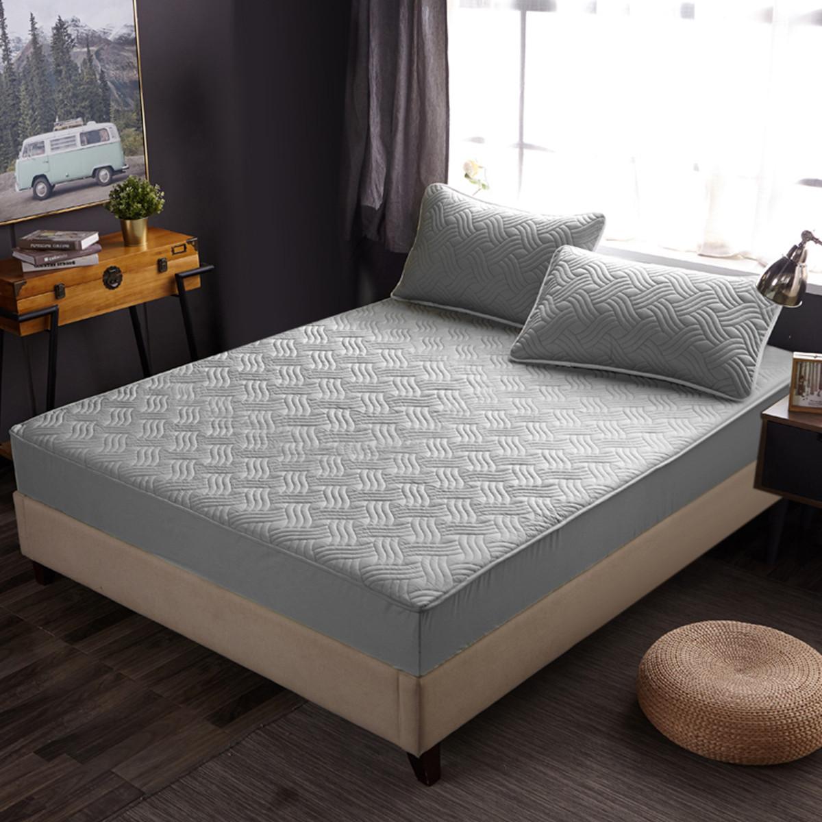 Ramada全棉可拆卸夹棉席梦思保护罩全棉床垫套床罩床褥褥子床笠薄床垫COLOR灰色