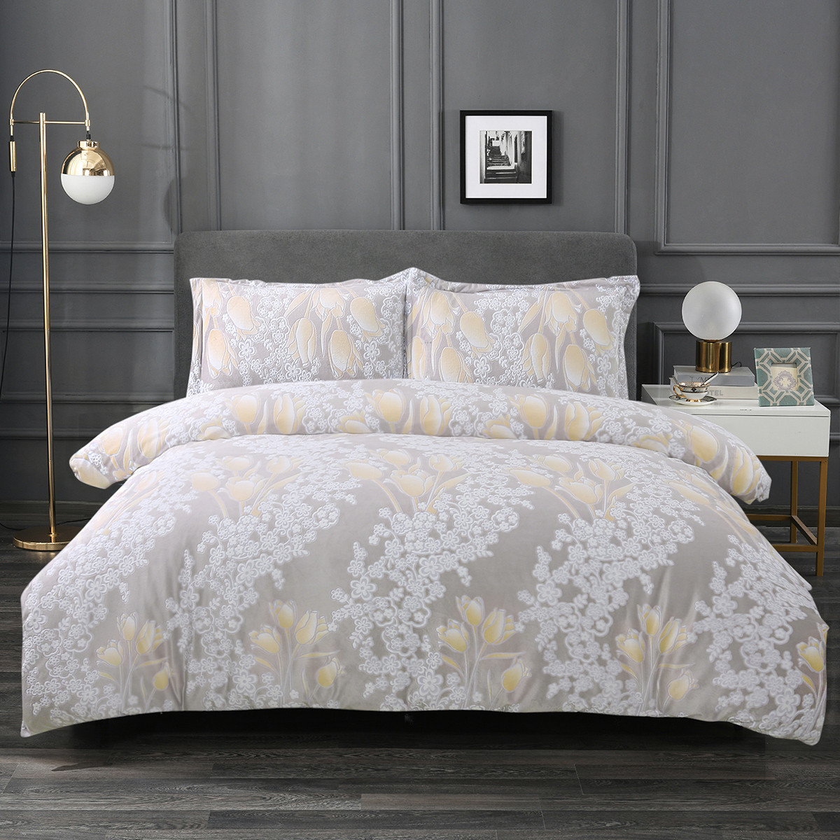 Ramada【年底清仓】冬季加厚雕花绒AB面印花床上四件套床上套件四件套COLOR米白色