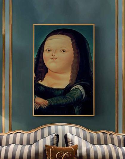 胖版蒙娜丽莎装饰画小众人物可爱搞笑客厅卧室画简约玄关墙画