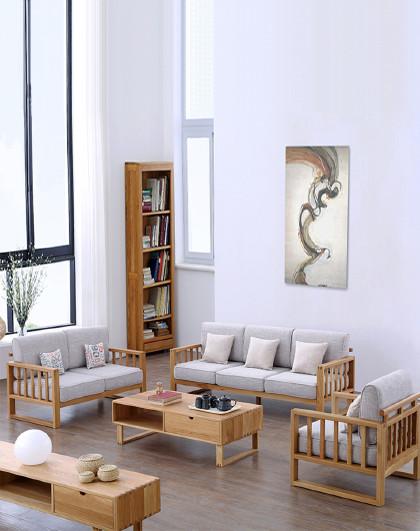 实木沙发 布艺沙发 北欧全实木沙发 胡桃木色白橡木沙发 客厅实木沙发