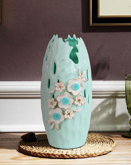 欧式绿色陶瓷花瓶摆件手工描金客厅插花装饰品简约干花花瓶家居工艺品