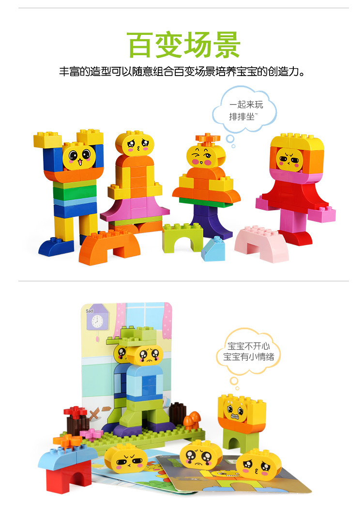 万格大颗粒积木儿童礼物益智早教diy拼装玩具兼容乐高情绪认知表情图片