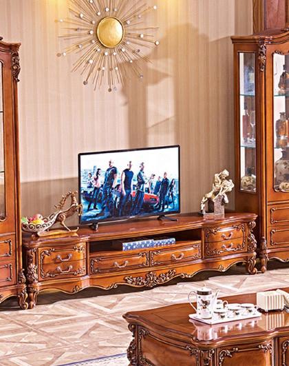 安邸 欧式实木电视柜欧式仿古色雕花储物客厅地柜电视柜抽屉款