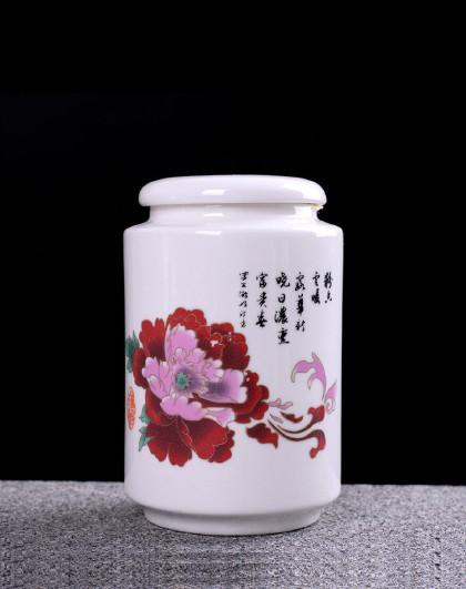 2个 白玉瓷羊脂玉陶瓷茶叶罐子圆柱形陶瓷罐密封罐