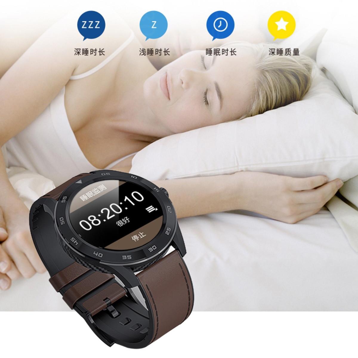 鲁米诺斯商务时尚智能手表蓝牙通话心电血压监测离线支付智能运动手环COLOR银壳棕皮