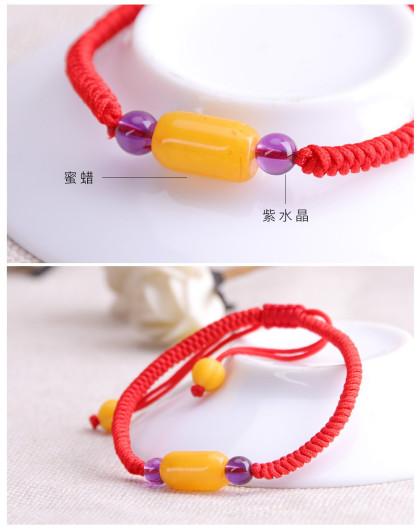 天然老蜜蜡筒珠(小)手工编绳手链-红绳 女款
