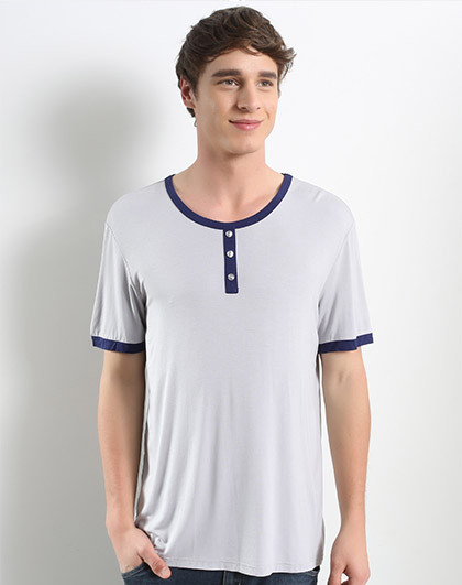 男士系扣半袖衫(韵动系列)银灰色