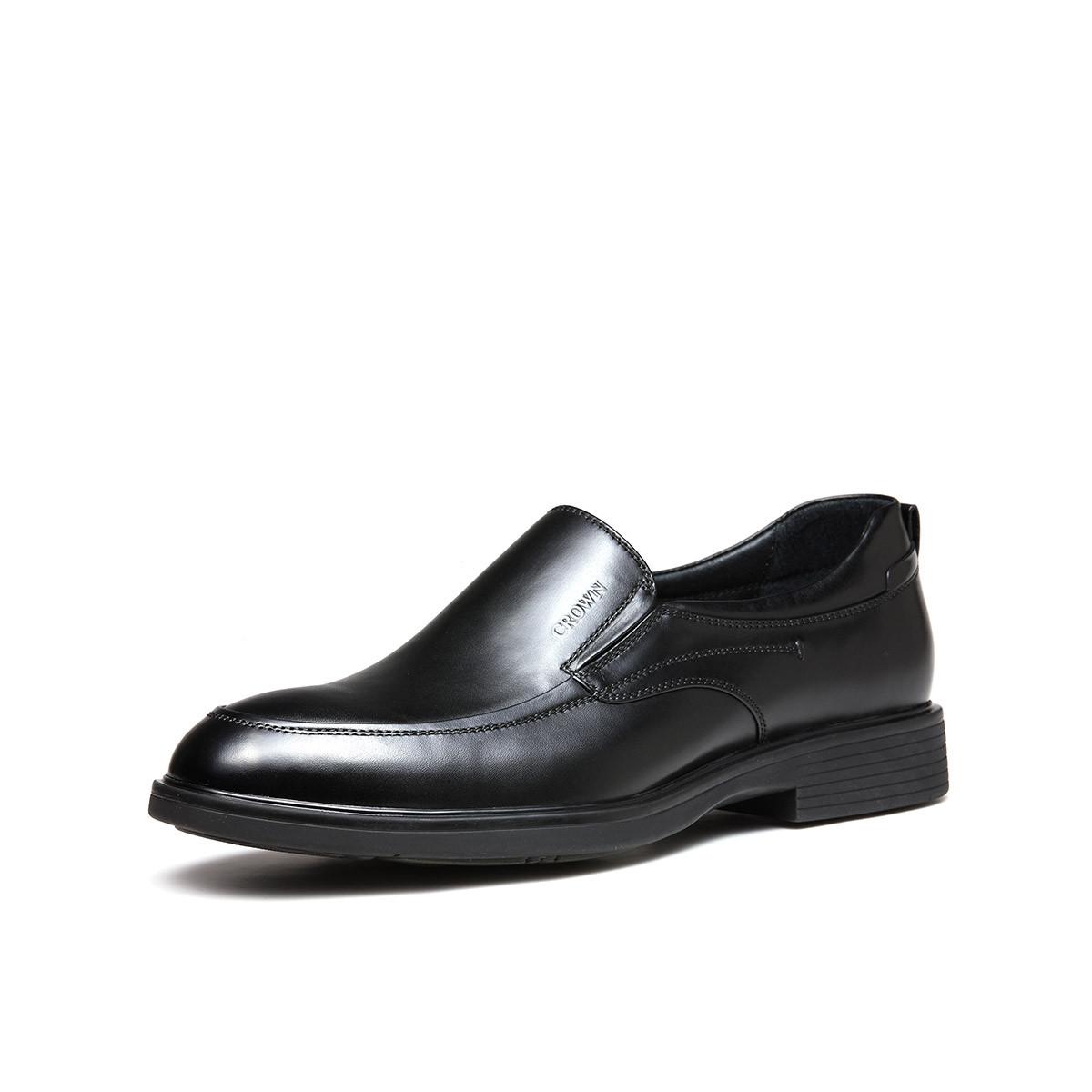皇冠新款商务休闲鞋套脚皮鞋男真皮轻便软底乐福鞋6042A811T2