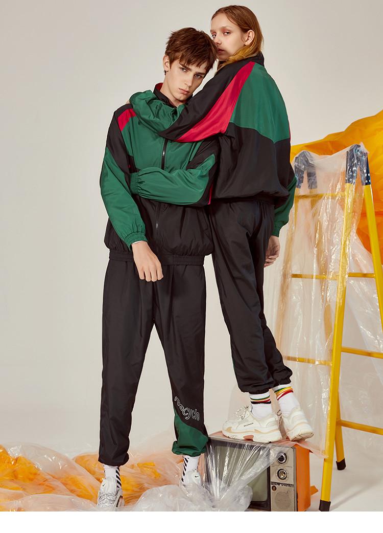 森马2018秋款运动撞色印花运动裤套装两件套男士套装男图片